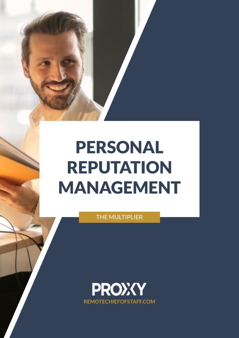 The fundamentals of personal reputation management monthly multiplier by proxxy